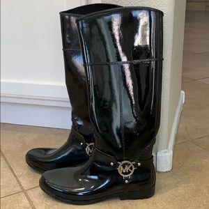 Michael Kors Black Rain Boots Size 8